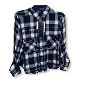 Polly & Esther plaid button down